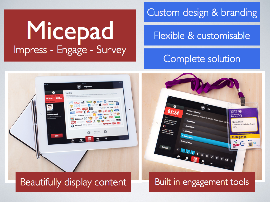Micepads Core Features. Micepad: Professionally Customised Conference Apps!
